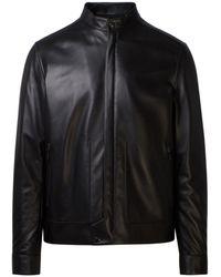 Z Zegna Leather Outerwear Jacket - Black