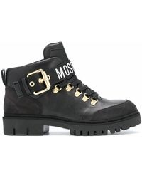 Moschino Leather Lace-up Boots - Black