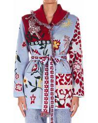 Hayley Menzies Shortcardiganwbelt01r Sweater - Blue