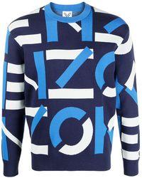 KENZO Intarsien-Pullover mit Logo - Blau