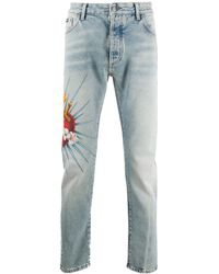 Palm Angels Jeans Sacred Heart con stampa - Blu