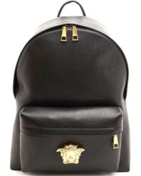Versace Black Leather Backpack