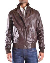 Trussardi - Brown Leather Outerwear Jacket - Lyst