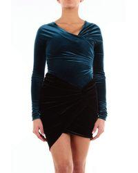 Alexandre Vauthier Velvet Off Shoulder Bodysuit - Blue