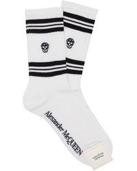 Alexander McQueen Socken mit Totenkopf - Weiß