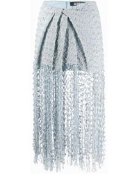 Jacquemus Woven Fringed Skirt - Blue