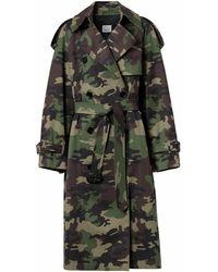 Burberry Trenchcoat mit Camouflage-Print - Grün