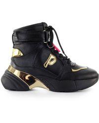 Pinko Black Leather Hi Top Sneakers