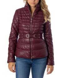 Guess - Burgundy Polyester Down Jacket - Lyst