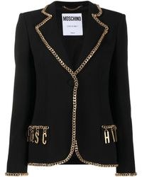 Moschino Chain-trimmed Logo Blazer - Black