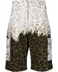 MSGM Cargo-Shorts mit Leo-Print - Grün