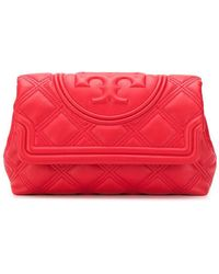 Tory Burch Fleming Quilted Clutch Bag - Red