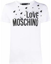 Love Moschino Klassisches T-Shirt mit Logo - Weiß