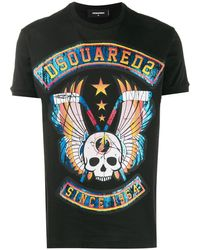 DSquared² Skull Graphic Printed Logo T-shirt - Black