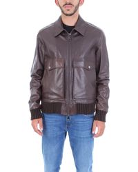 Alessandro Dell'acqua Brown Leather Outerwear Jacket