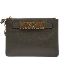 Moschino Green Leather Pouch