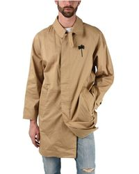 Palm Angels Cotton Trench Coat - Natural