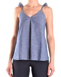 Dondup Blue Cotton Tank Top