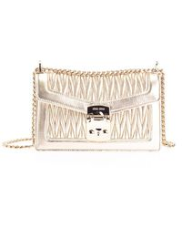 Miu Miu Gold Leather Shoulder Bag - Metallic
