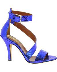 Paris Texas Blue Leather Sandals