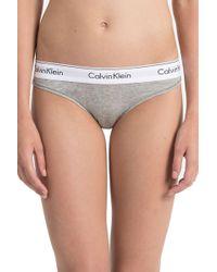 Calvin Klein Grey Cotton Brief - Gray