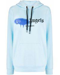 Palm Angels Hoodie mit Spray-Logo - Blau
