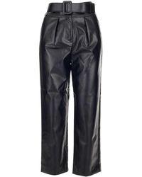 Self-Portrait Polyester Pants - Black