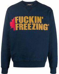 DSquared² Sweatshirt mit Slogan-Print - Blau
