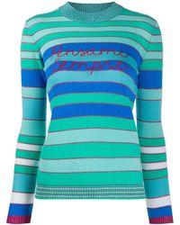 Giada Benincasa Pensami Sempre Embroidered Striped Sweater - Blue