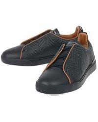 Ermenegildo Zegna Men's A4430xlhmtpnav Black Leather Sneakers