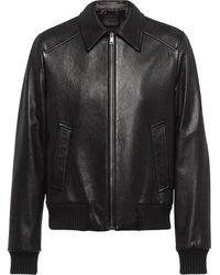 Prada Elasticated Leather Jacket - Black