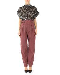 Isabel Marant Burgundy Cotton Pants - Purple