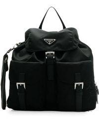 Prada Mini Rucksack mit Logo-Schild - Schwarz