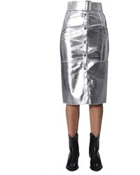 MSGM Silver Viscose Skirt - Metallic