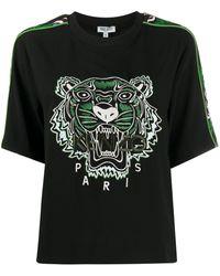 KENZO T-Shirt mit Tigerstickerei - Schwarz