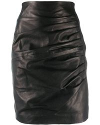 P.A.R.O.S.H. Black Leather Skirt