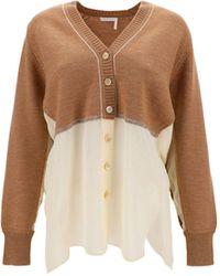 Chloé Chloé Women's Chc21smc0461026b Brown Other Materials Cardigan