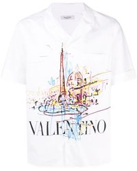 Valentino Hemd mit Malerei-Print - Weiß