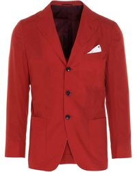 Kiton Other Materials Blazer - Red