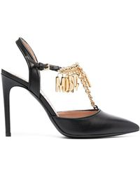 Moschino Logo-embellished T-bar Court Shoes - Black
