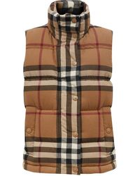 Burberry Check Cotton Flannel Puffer Gilet - Brown