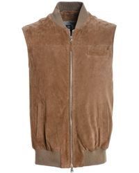 Eleventy Brown Leather Vest