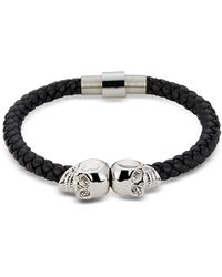 Northskull Herren-Armband aus Nappaleder mit Totenköpfen aus Rhodium - Schwarz
