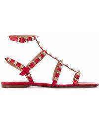 Valentino Garavani Leather Sandals - Red