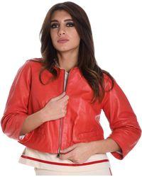 Betta Corradi Red Leather Outerwear Jacket