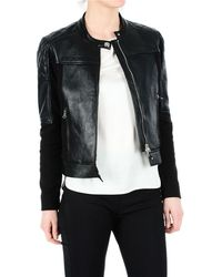 Pinko Black Leather Outerwear Jacket