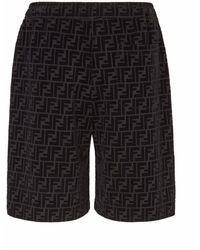 Fendi Shorts mit geflocktem Print - Schwarz