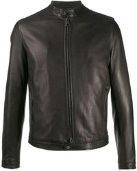 Tagliatore Black Leather Outerwear Jacket