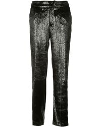 PT01 Black Polyester Trousers