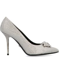 Versace Silver Leather Court Shoes - Metallic